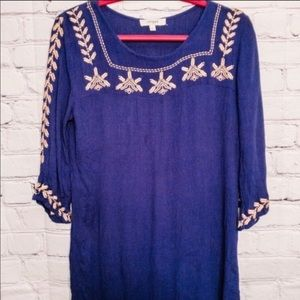 Umgee Navy Blue Embroidered Tunic Top